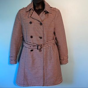 Kenneth Cole striped double breasted trench coat